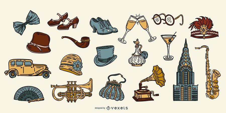 Pacote de elementos coloridos da década de 1920 do vintage