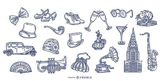 Conjunto de elementos de traço vintage da década de 1920