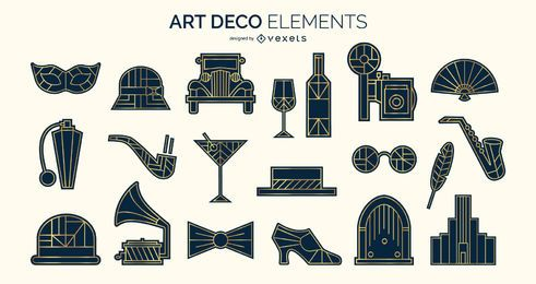 Pack de elementos de silueta Art Deco