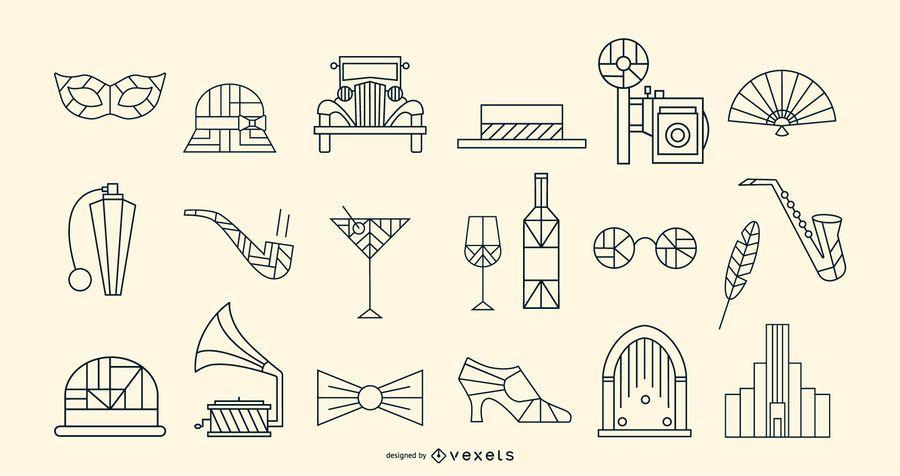 Pacote de elementos de traçado Art Deco vintage