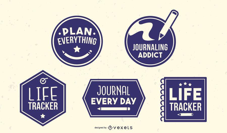 Pacote de emblemas de registro no diário