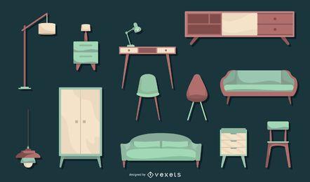 Conjunto de diseño plano de muebles nórdicos