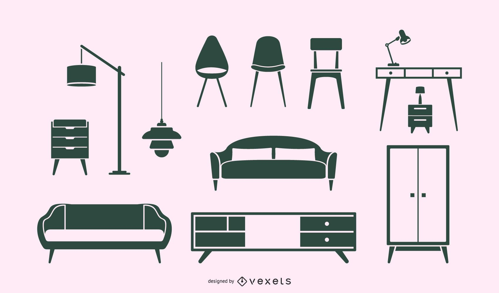 Paquete de diseño de silueta de muebles nórdicos