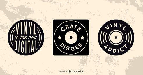 Conjunto de insignias de coleccionista de registros