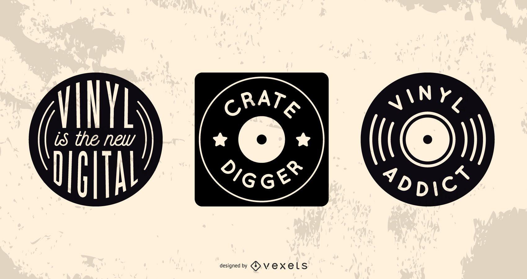 Conjunto de insignias de coleccionista de discos