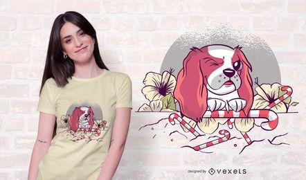 Projeto do t-shirt do cão da flor dos doces