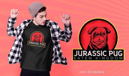 Design de camiseta jurássica pug