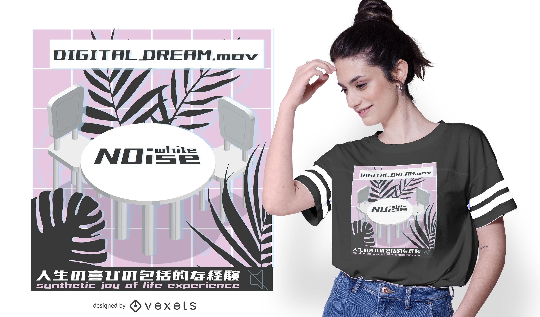 Diseño de camiseta vaporwave noise
