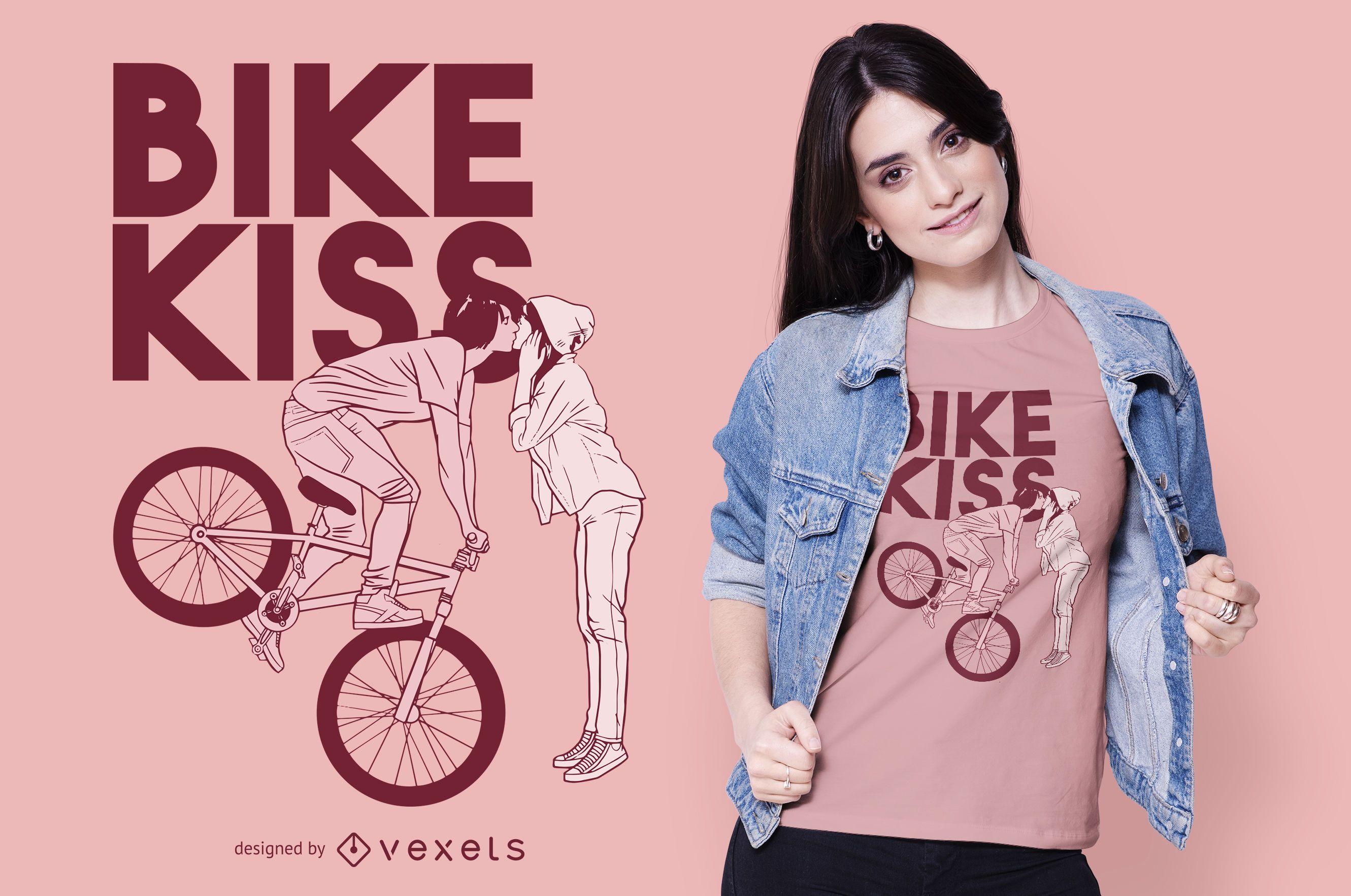 Diseño de camiseta bike kiss