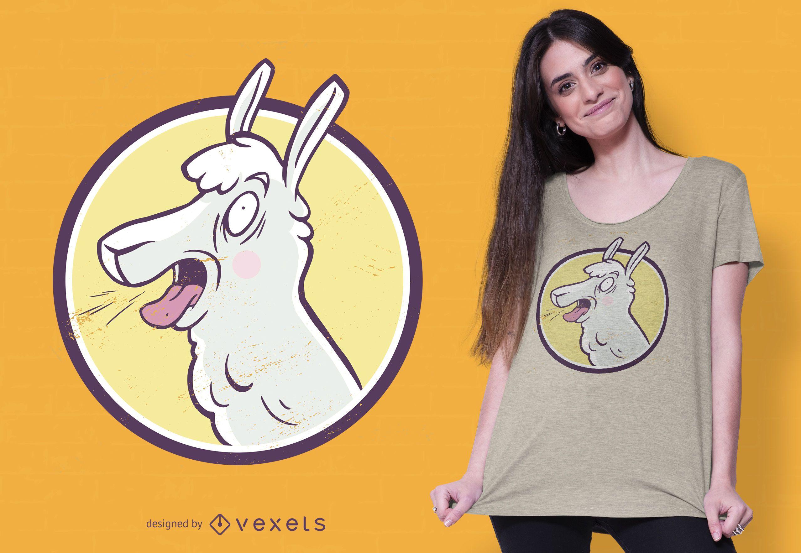 Diseño de camiseta de llama loca