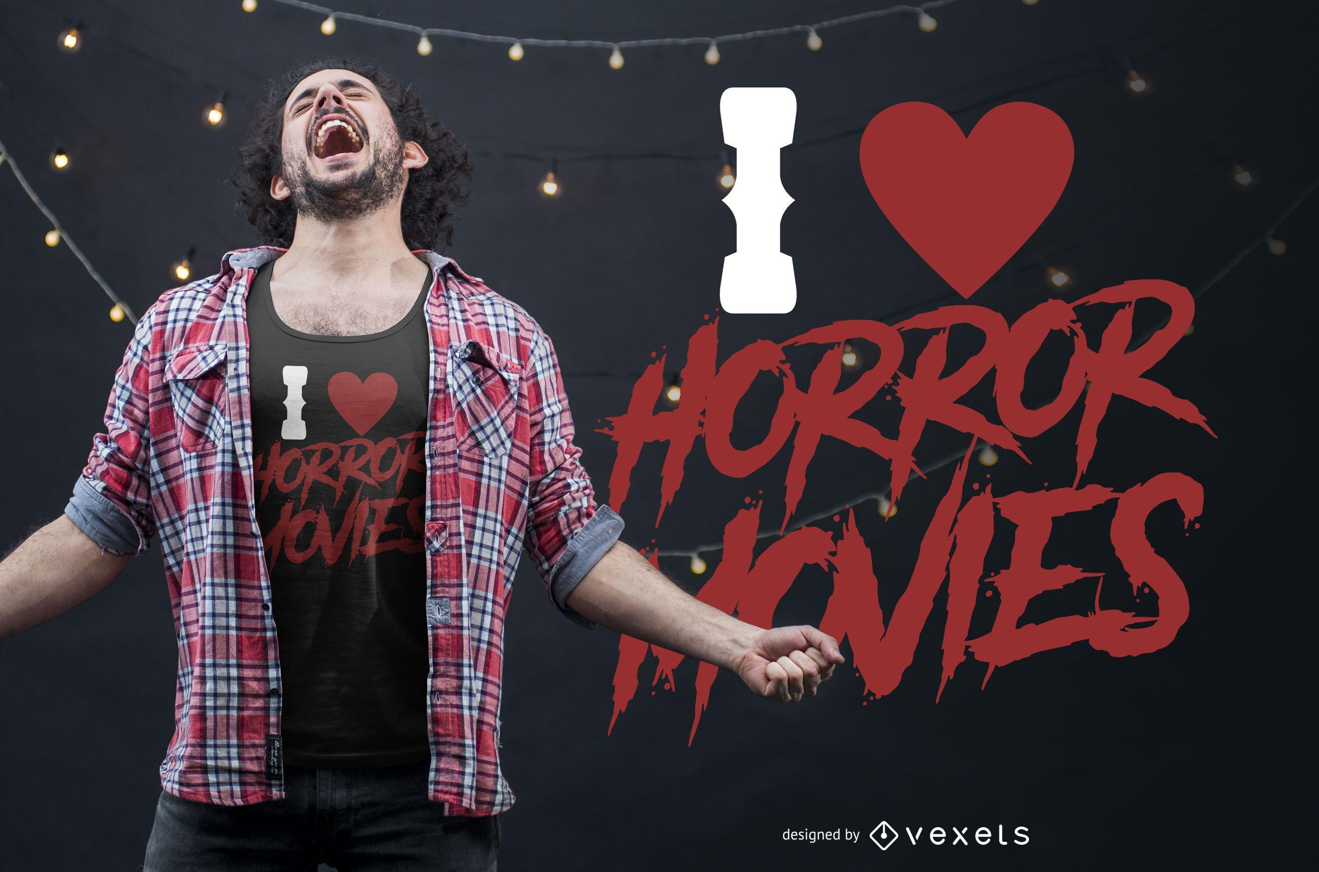 Eu amo o design de camisetas de filmes de terror