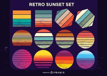 Colección retro puesta de sol