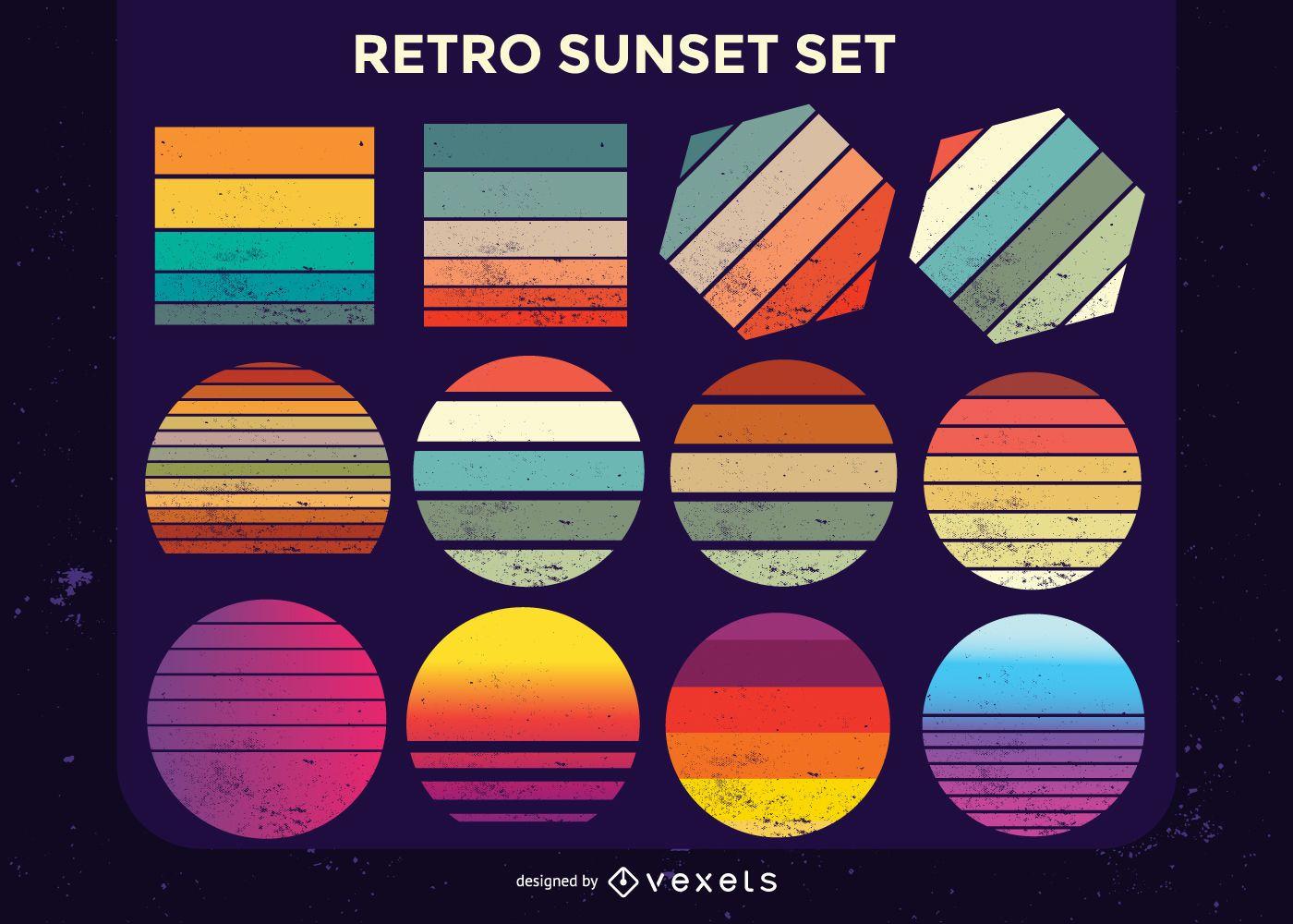 Coleção retro do pôr do sol