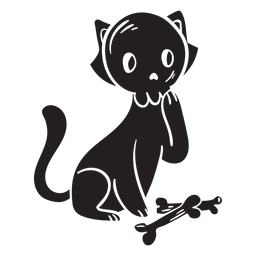 Cat halloween silhouette bone
