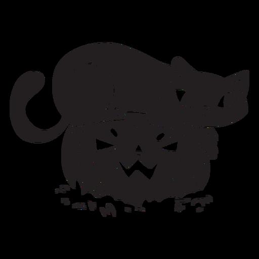Calabaza de silueta de halloween de gato Transparent PNG