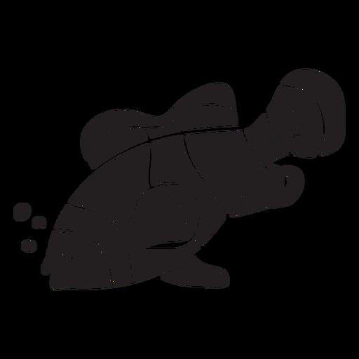 Silhueta de peixe palhaço dormindo Transparent PNG