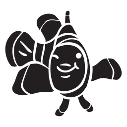 Sorrisos de silhueta de peixe-palhaço