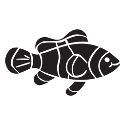 Clown fish silhouette swims