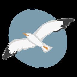 Voar gaivota cor de animal plano