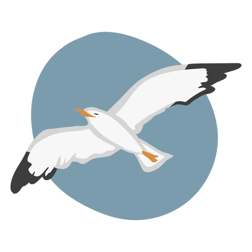Fly gull color animal flat