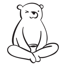 Bear cartoon sitting grizzly