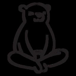 Oso de dibujos animados sentado grizzly