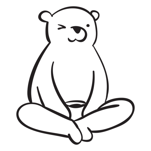 Bear cartoon sitting grizzly Transparent PNG