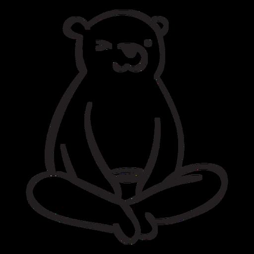 Urso Sentado Sentado Dos Desenhos Animados Baixar Png Svg Transparente
