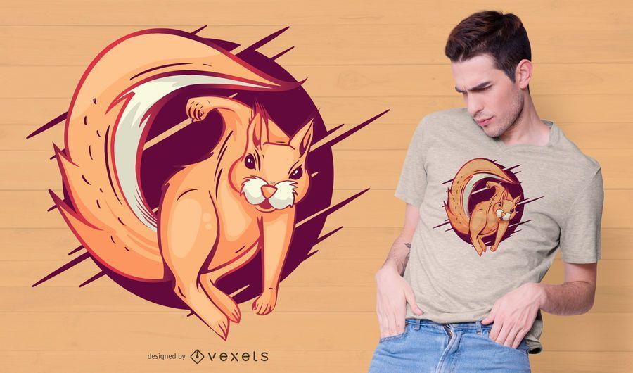 Diseño de camiseta de ardilla enojada
