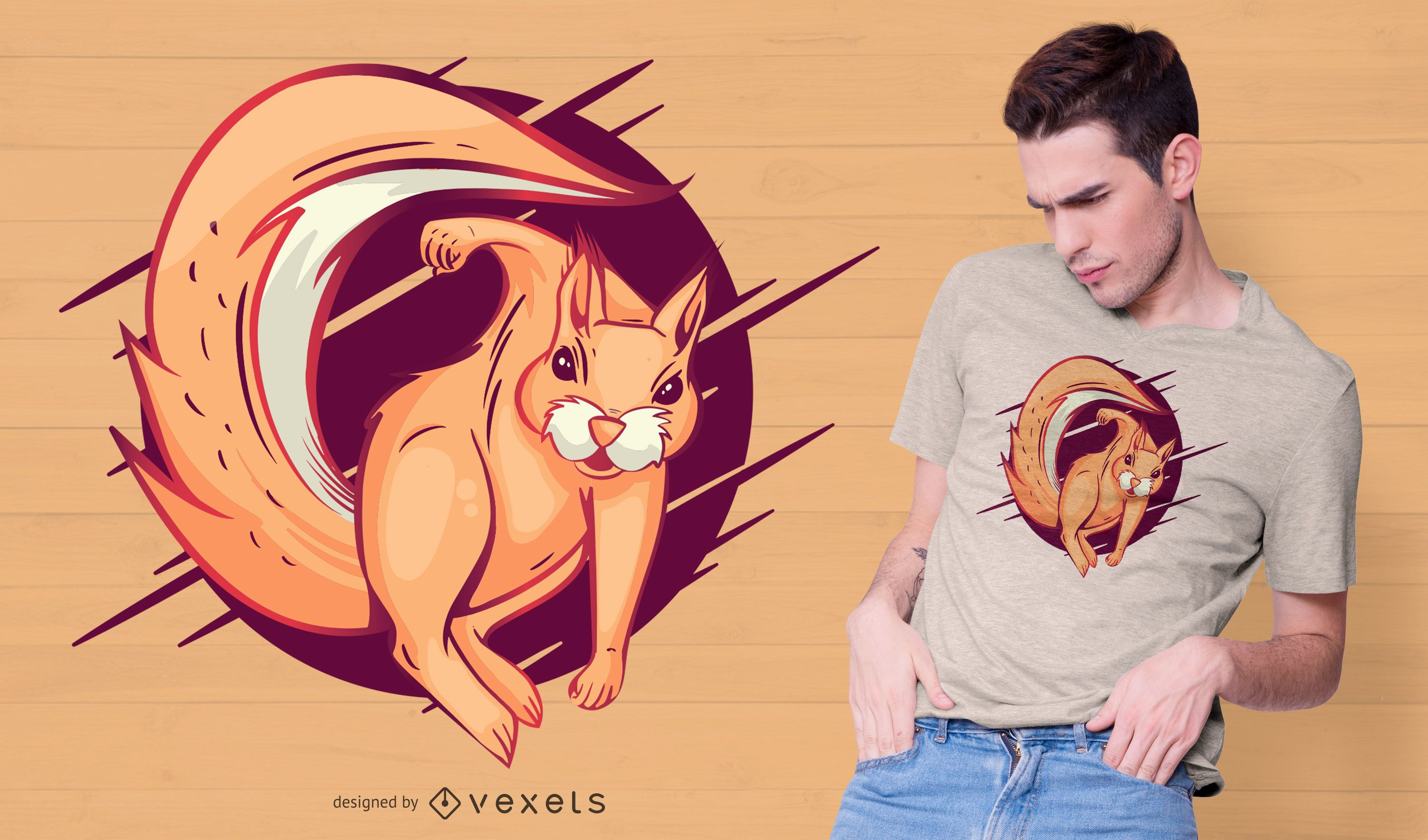 Angry squirrel t-shirt design