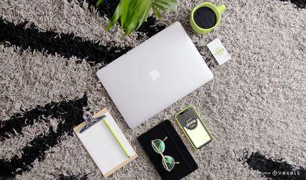 Composição de maquete de material de escritório