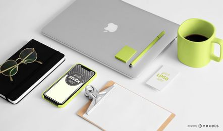 Office stationery mockup composition