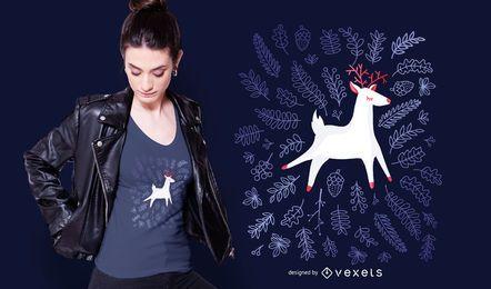 Diseño de camiseta de hojas de ciervo.