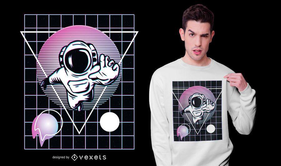 Design de camiseta do astronauta Vaporwave