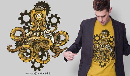 Diseño de camiseta de pulpo Steampunk