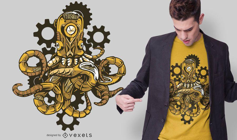 Design de t-shirt de polvo steampunk