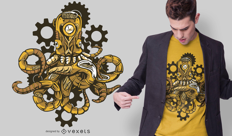 Diseño de camiseta Steampunk Octopus