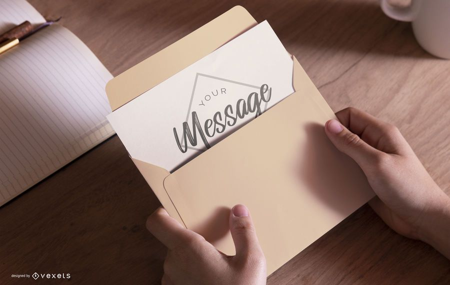 Hands Holding Envelope Mockup Design