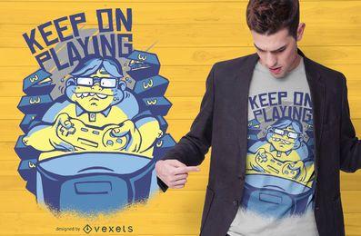 Design de t-shirt de citações de nerd de jogos