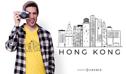 Design de t-shirt do horizonte de Hong Kong
