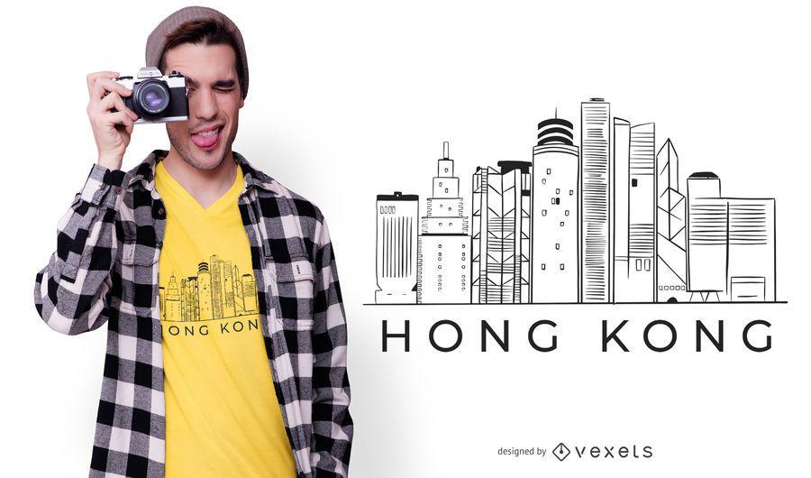 Design de camiseta do horizonte de Hong kong