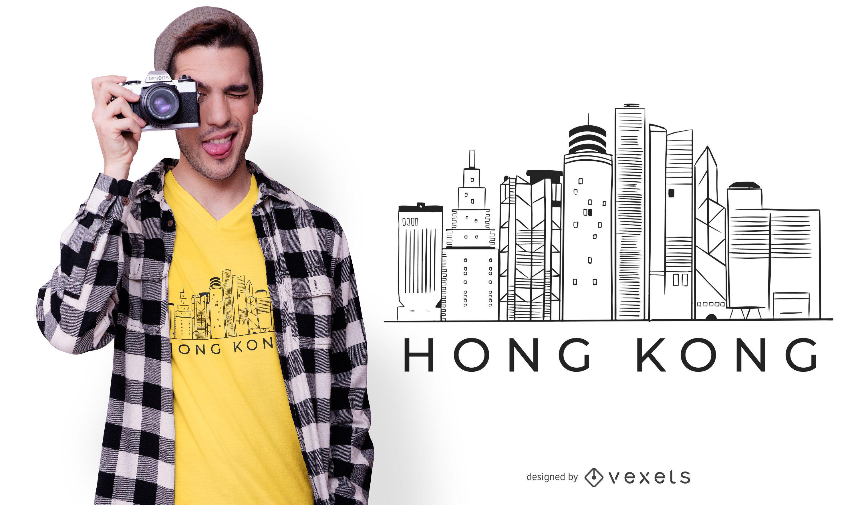 Hong kong skyline t-shirt design