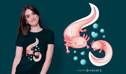 Diseño de camiseta Axolotls