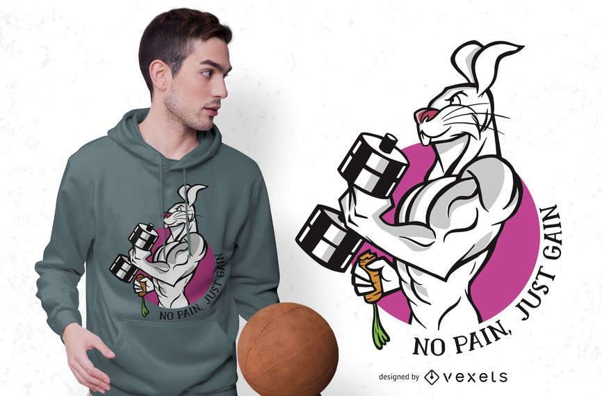 No pain rabbit t-shirt design