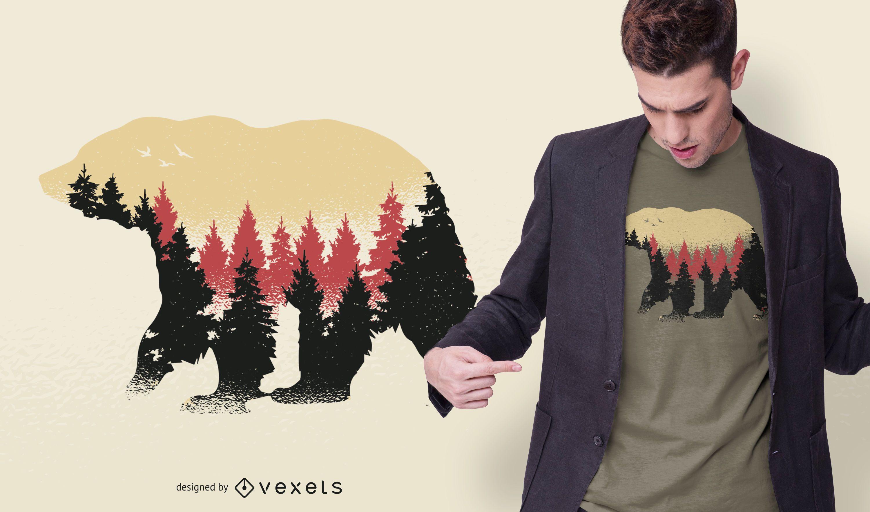 Diseño de camiseta de árboles de oso