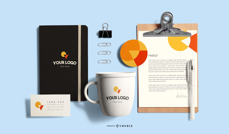Composição de maquete de branding de papelaria