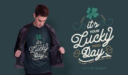 Diseño de camiseta de letras del día de la suerte