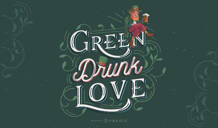 St patricks letras verdes design
