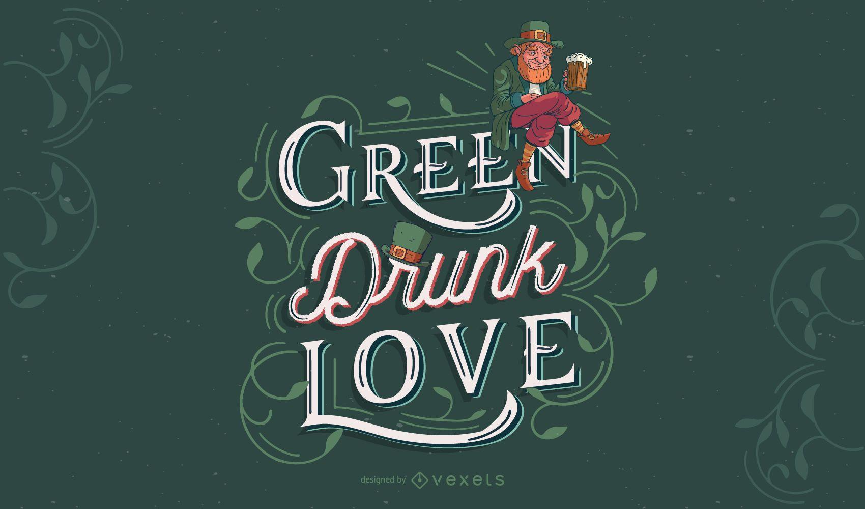 Desenho de letras verdes de São Patrício