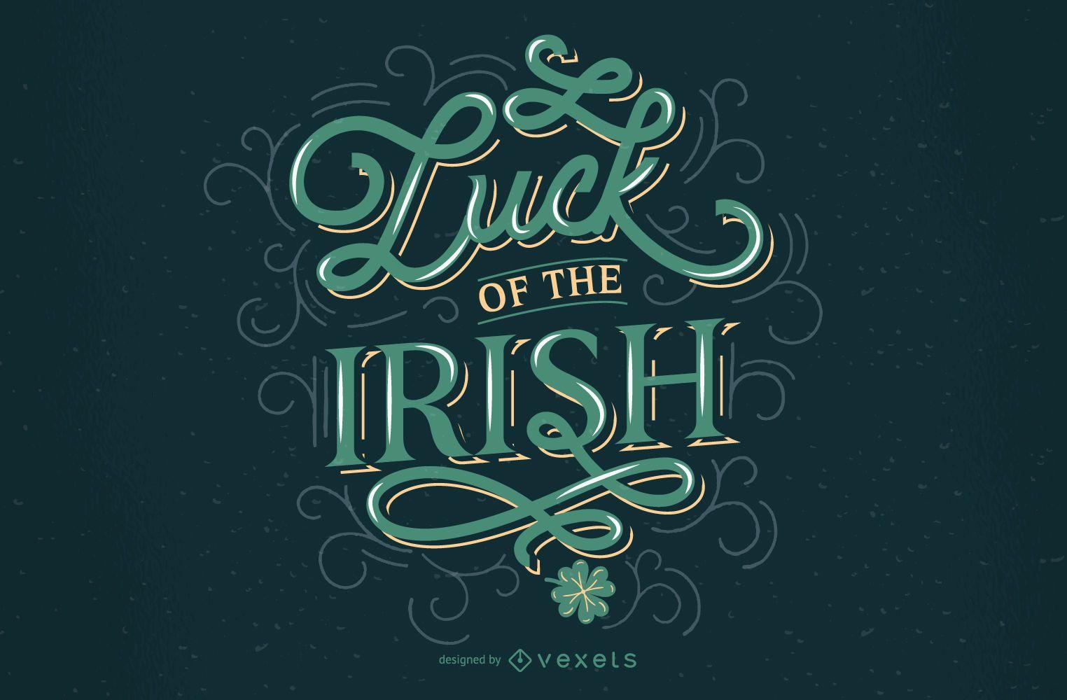 Diseño de letras irlandés suerte st patricks